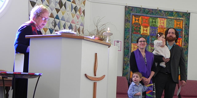 The Annual Dedication Ceremony featured First UU new Family, the Barefoots