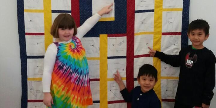 Children enjoy The Eisenhower School of Governors Quilt