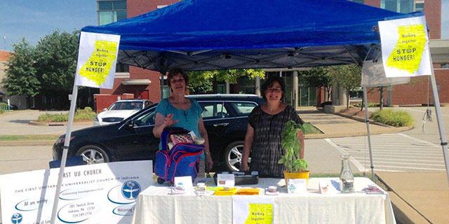 Sharing ways we can Stop Hunger in Indiana County was the message at the Farmers Market by Lois Young and Colleen Dugan